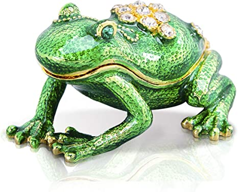 Amazon Com Hdcrystalgifts Green Frog Trinket Boxes Crystal Jeweled Handpainted Animal Figurine Collectible Ring Holder Gift Home Kitchen