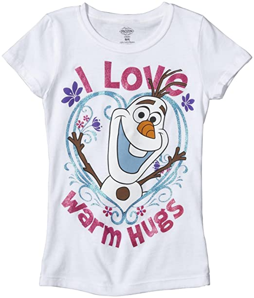 d7525f91 Amazon.com: Frozen Kid's Olaf Warm Hugs Cap Sleeve Tee: Clothing