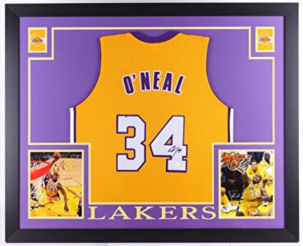 45bb7794c462 Shaquille O Neal Los Angeles Lakers Autographed Signed Custom Framed Jersey  Gold W Purple JSA Witnessed Certified at Amazon s Sports Collectibles Store