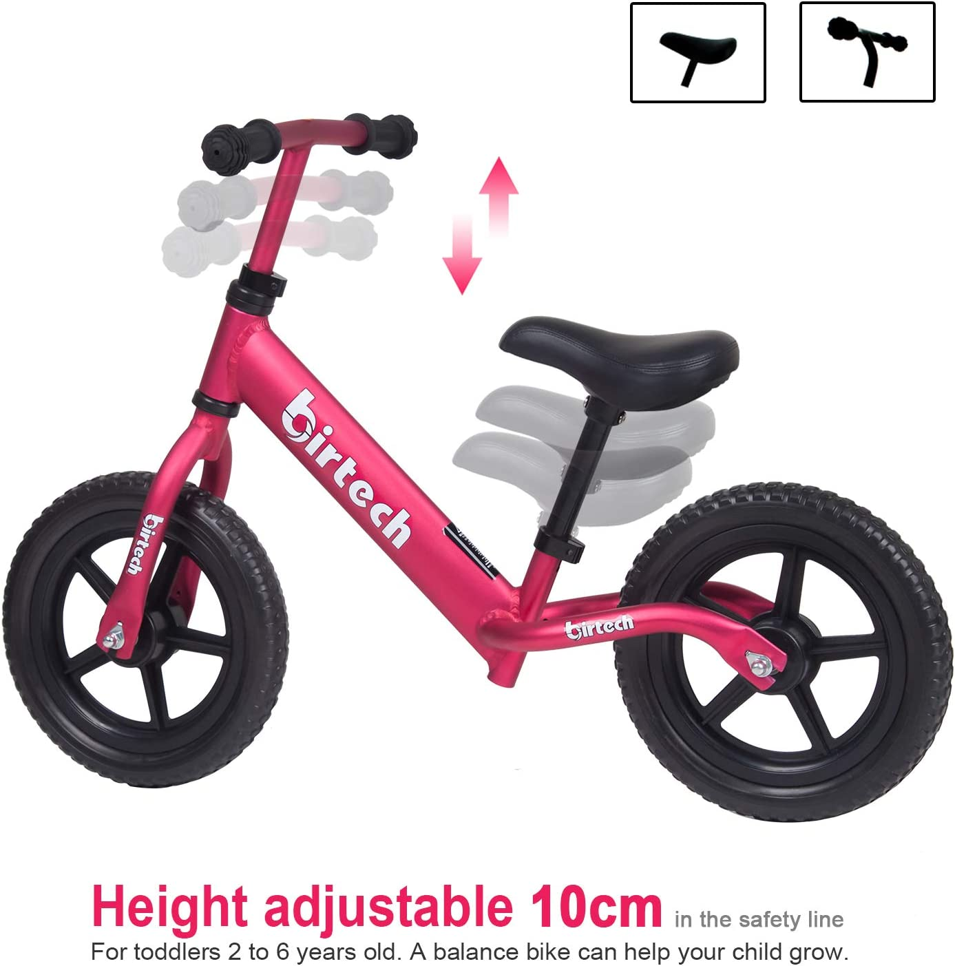 Lightweight Aluminum Alloy Frame Kids Walking Balance Bike No Pedal Training Bicycle for 2-6 Years Old Kids Toddlers 12 Balance Bike for Boys Girls