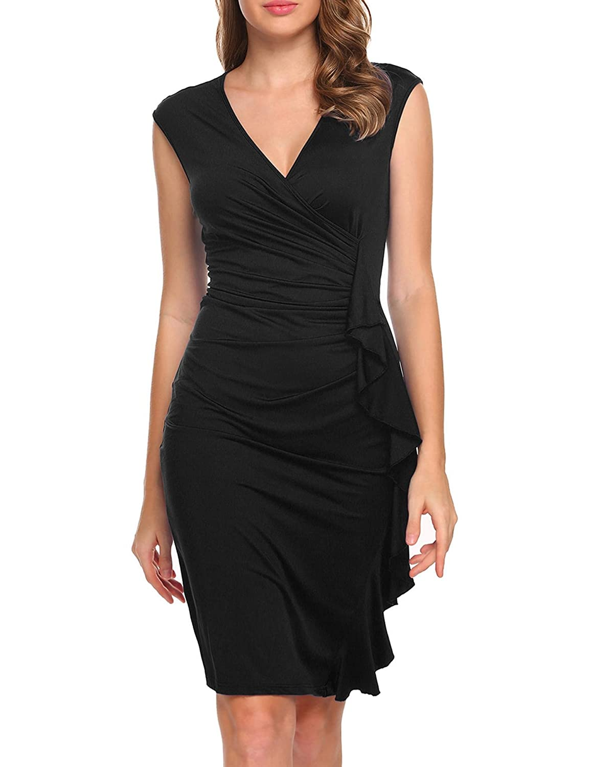 ACEVOG Women's V-Neck Sleeveless Ruffles Draped Bodycon Party Pencil Wrap Dress
