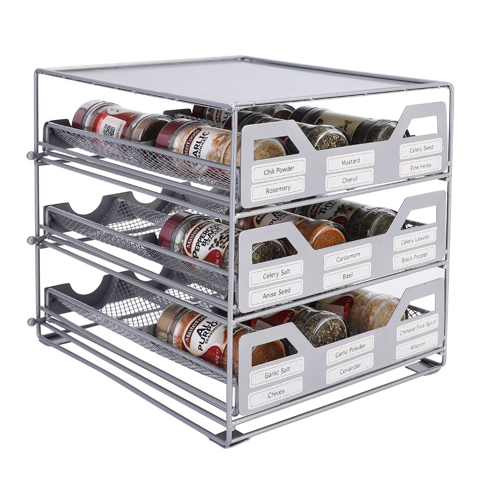 All metal design Silver Spice rack spice drwer 18 bottle tilt down organizer for cabinets or countertops Y308