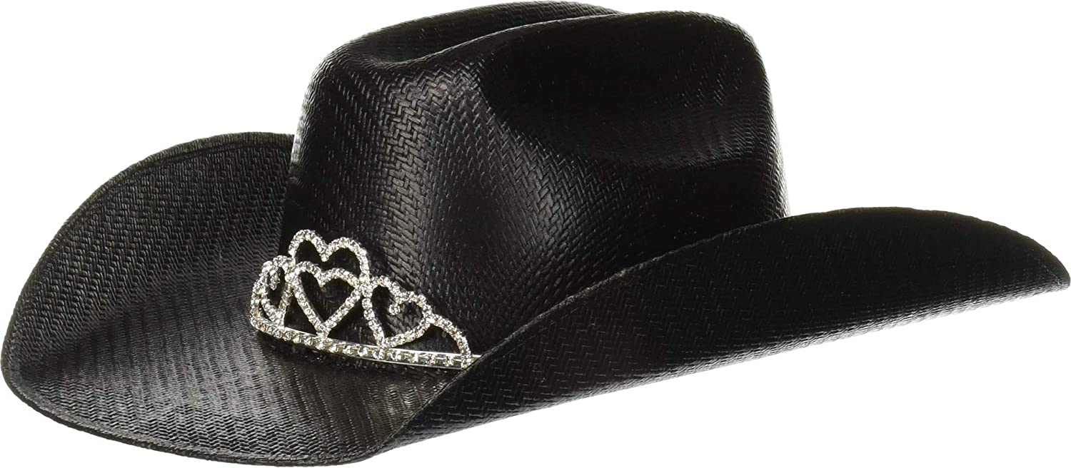 M/&F Western Girls Twister Straw Cowgirl Hat w//Tiara Crown Little Kids//Big Kids Black XL
