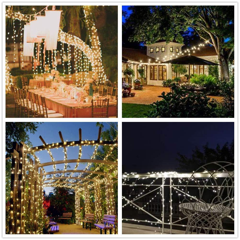 Weihnachtsbeleuchtung Led Outdoor.Solar Lichterkette Außen 200 Led Warmweiß Ip44 Wasserdicht Garten
