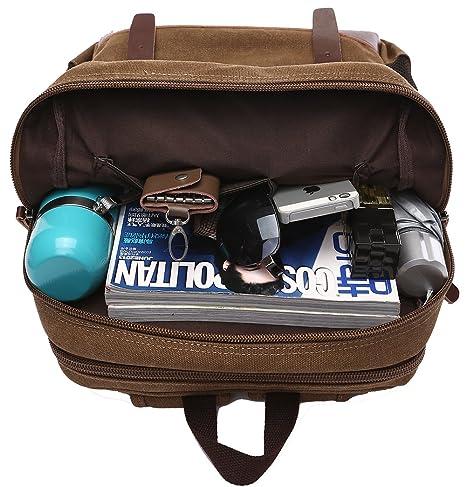 2e880ae4a54 Amazon.com   ZUOLUNDUO Vintage Canvas College School Bag Laptop Bag Backpack  M8675SJ, Khaki   Kids  Backpacks