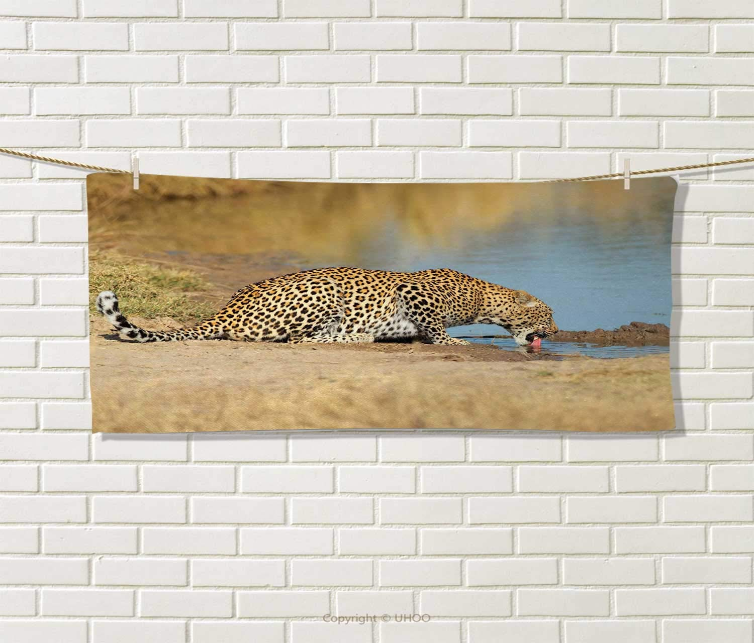 Anniutwo Safari,Hair Towel,Leopard Panther Drinking at Waterhole Wild South African Animal Documentary Print,Quick-Dry Towels,Light Brown Size: W 8'' x L 23.5''