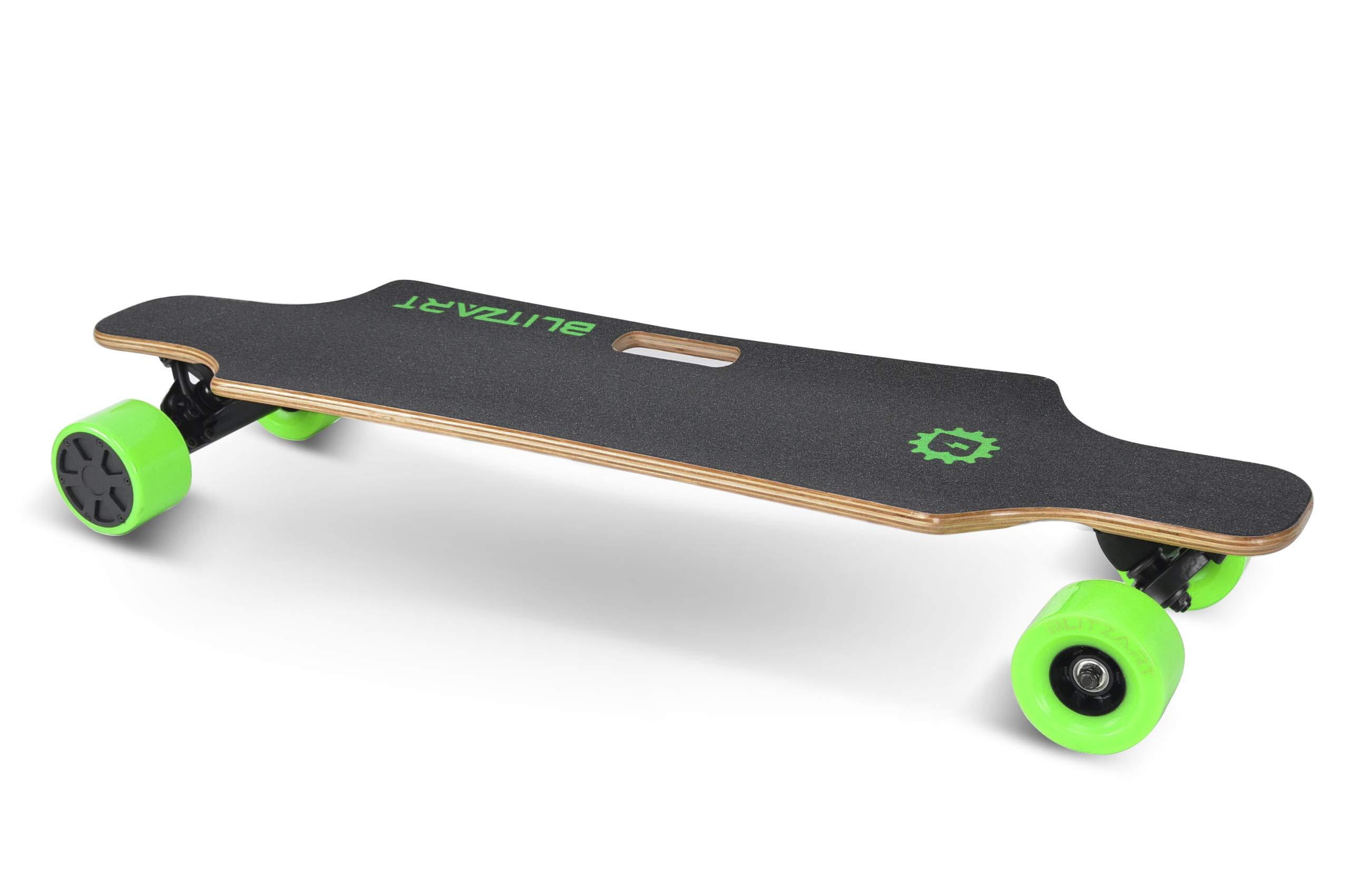 BLITZART Huracane 38'' Electric Skateboard Longboard Motorized Electronic Hub-Motor 3.5'' Wheels (Green)