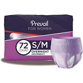 Prevail Overnight Absorbency Incontinence Underwear for Women, Small/Medium, 72 Count