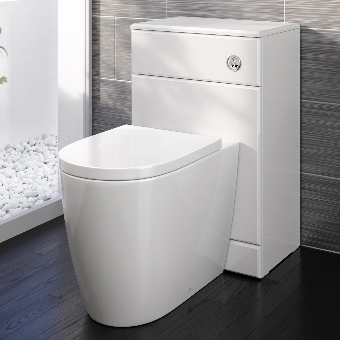 iBathUK Modern Back To Wall Toilet with Soft Close Seat White Gloss WC Furniture Unit BS882