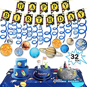 Spiral Streamers Decorate Outer Space Themed Party Space Adventure Party and Happy Birthday Banner Solar System Hanging Swirls Decorations Space Planet Swirl