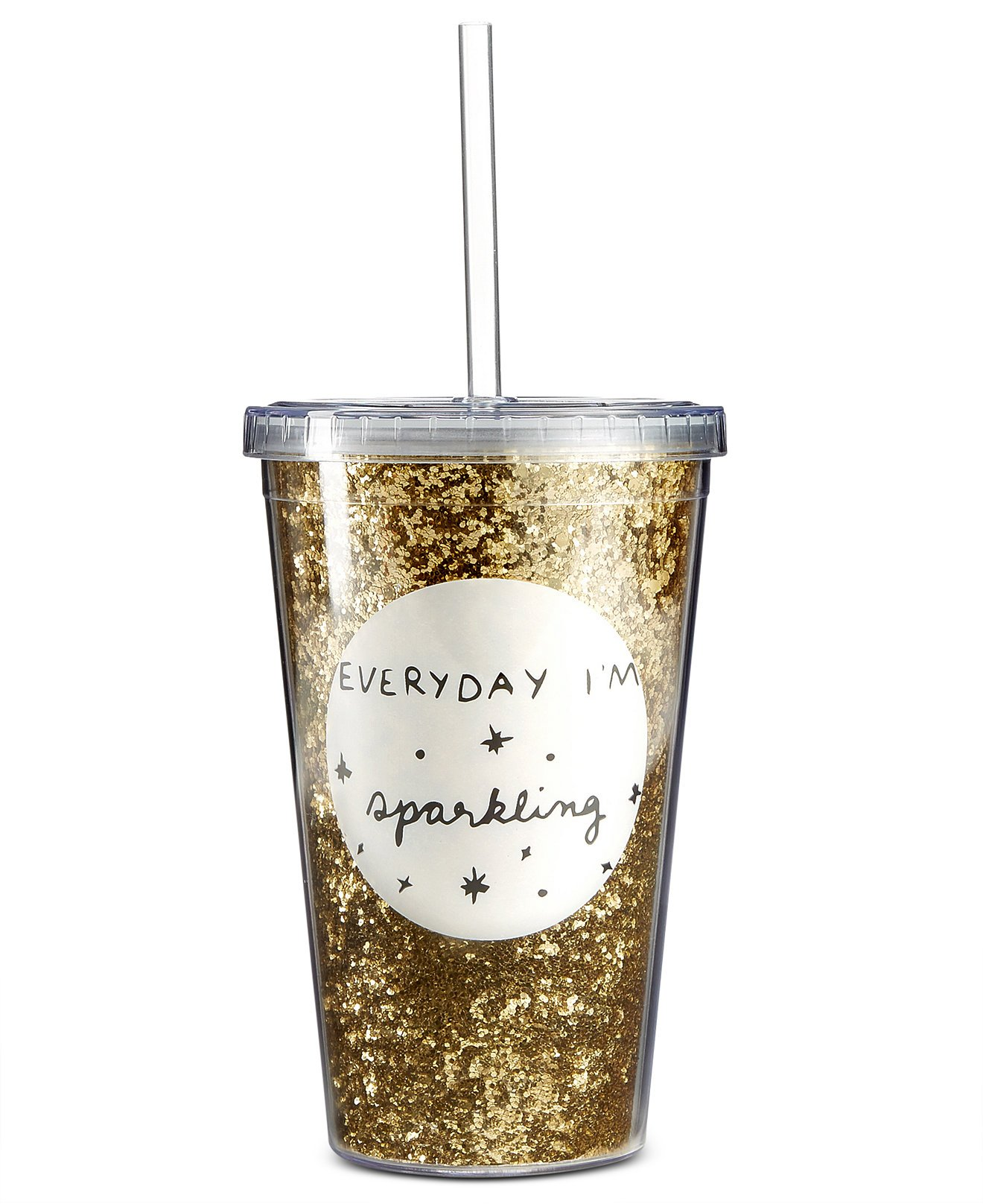 Celebrate Shop 16-oz 'Everyday I'm Sparkling' Glitter Covered Tumbler with Straw, Gold