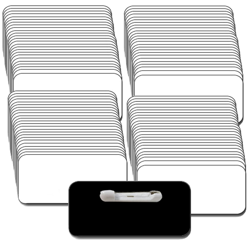 Name Tags/Badges and Pin Fasteners Unattached - 100 Pack Bulk White/Black Blank Plastic 1/4th Rounded Corners 1.5'' X 3''