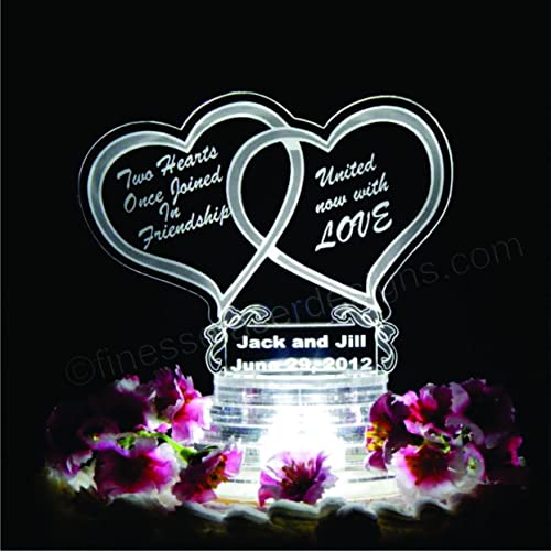 Amazon Com Double Heart Lighted Wedding Cake Topper Acrylic Cake