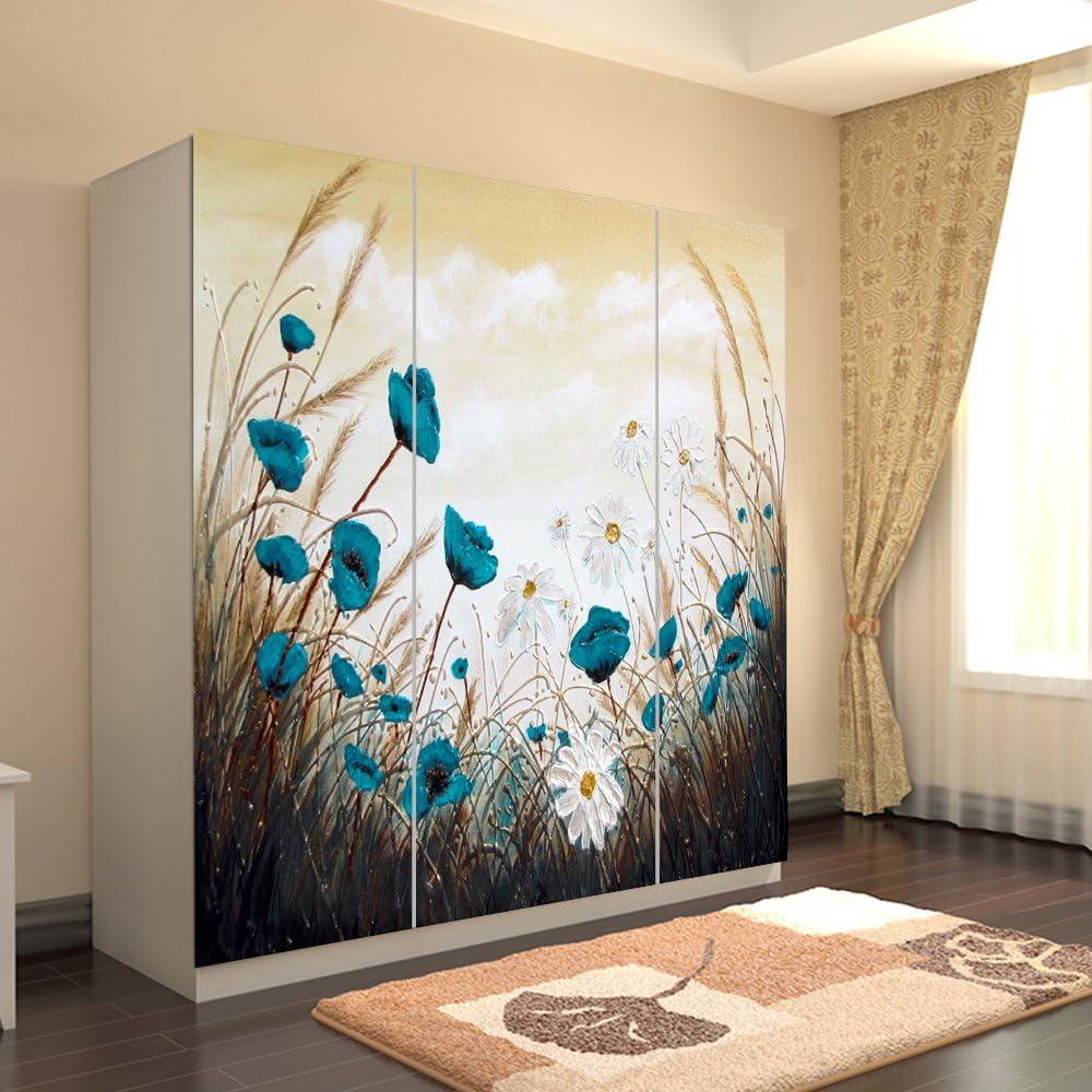 Yazi armario lámina adhesiva pegatinas fondo puerta corredera ventana para cuarto de bebé personalizado tamaño azul flores: Amazon.es: Hogar