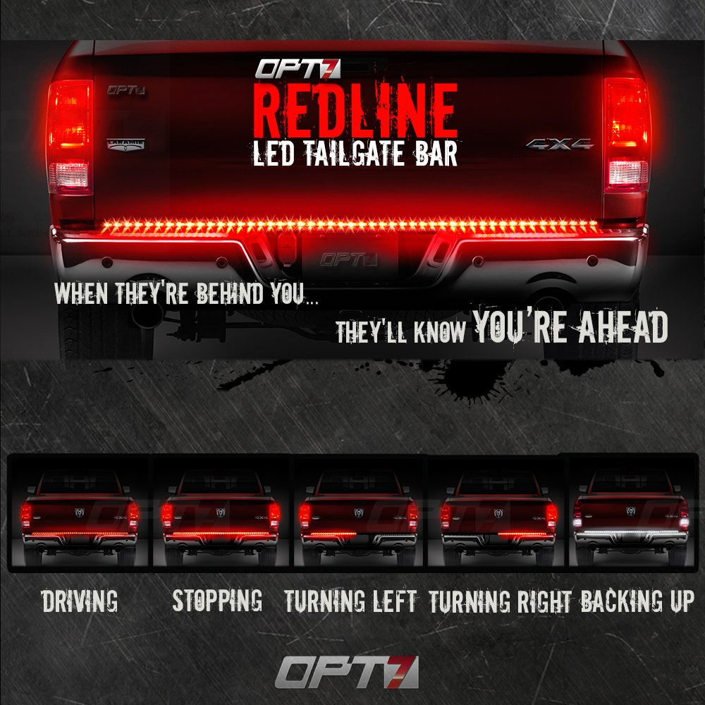 TriCore LED OPT7 60 Redline Flexible LED Tailgate Light Bar Weatherproof No-Drill Install ?Full Featured Reverse Brake Running w//RED Turn Signal 2yr Warranty