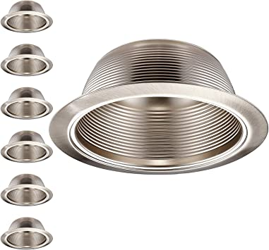 Pack of 12 6 Inch Recessed Can Light Trim with Satin Nickel Metal Step Baffle