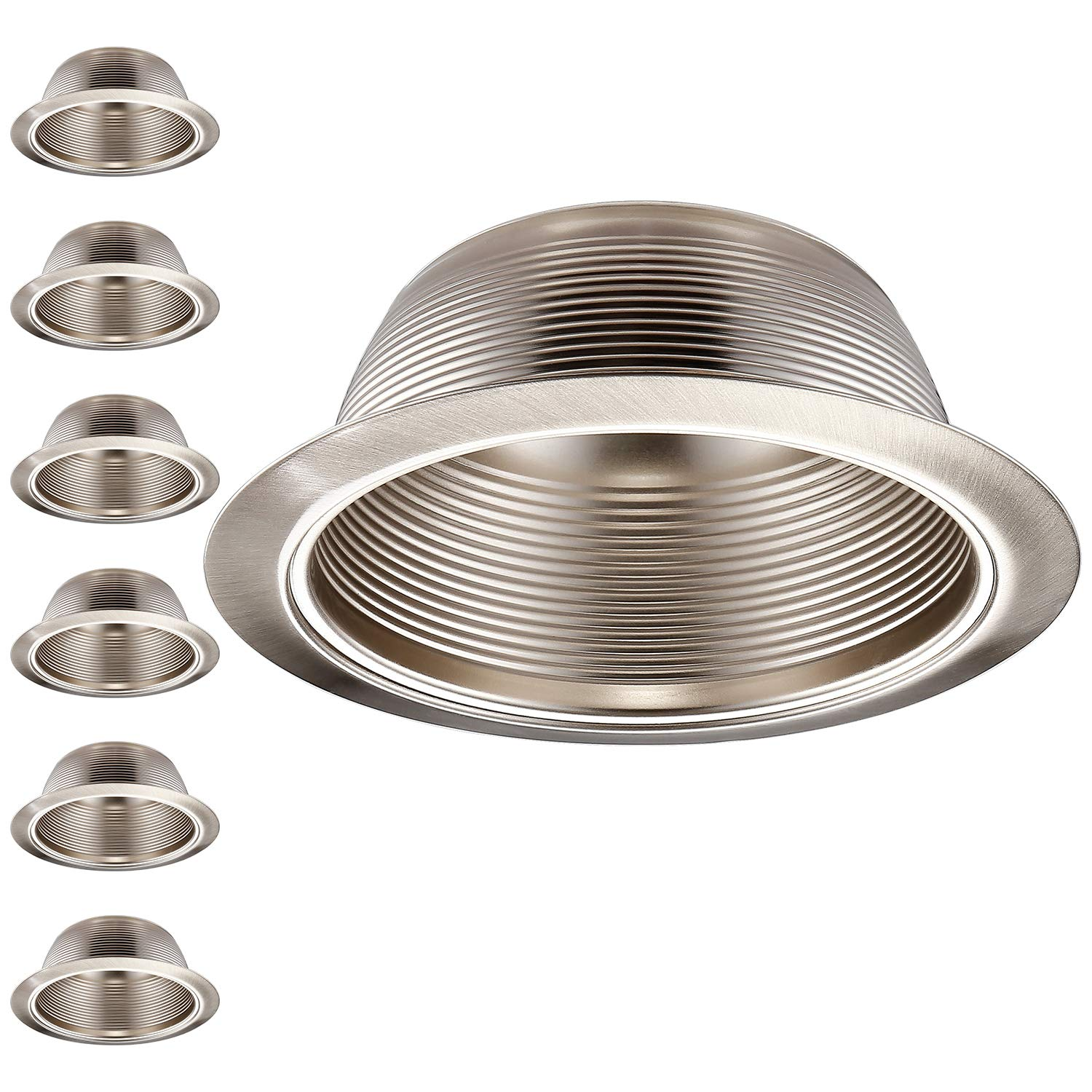 TORCHSTAR 6 Pack 6 Inch Recessed Can Light Trim with Satin Nickel Metal Step Baffle, Detachable Iron Ring Included, Fit Halo and Juno Remodel Recessed Housing