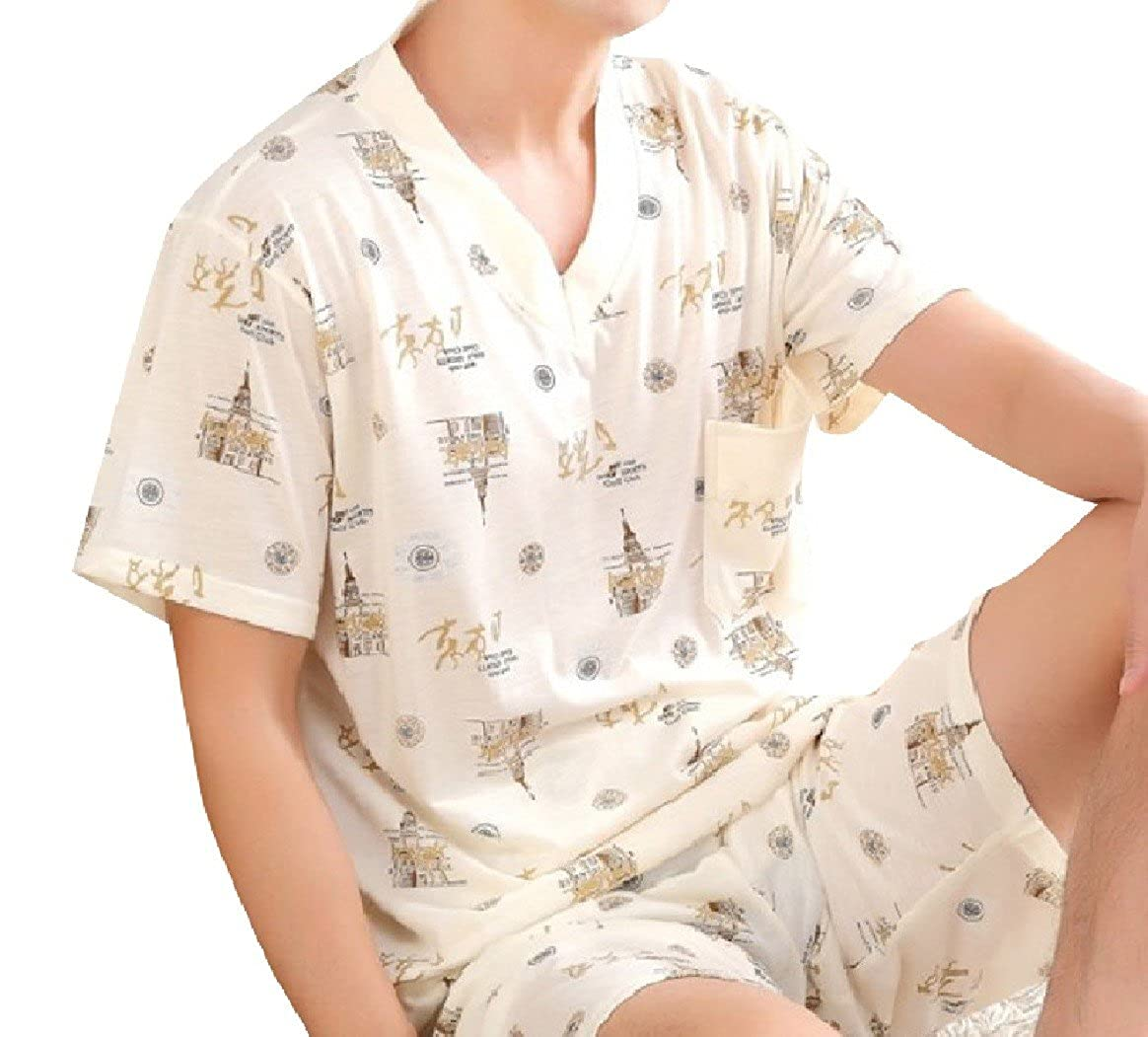 SportsX Men Short Sleeve Summer Two Piece Plus Size Print Homewear Sleepwear Set