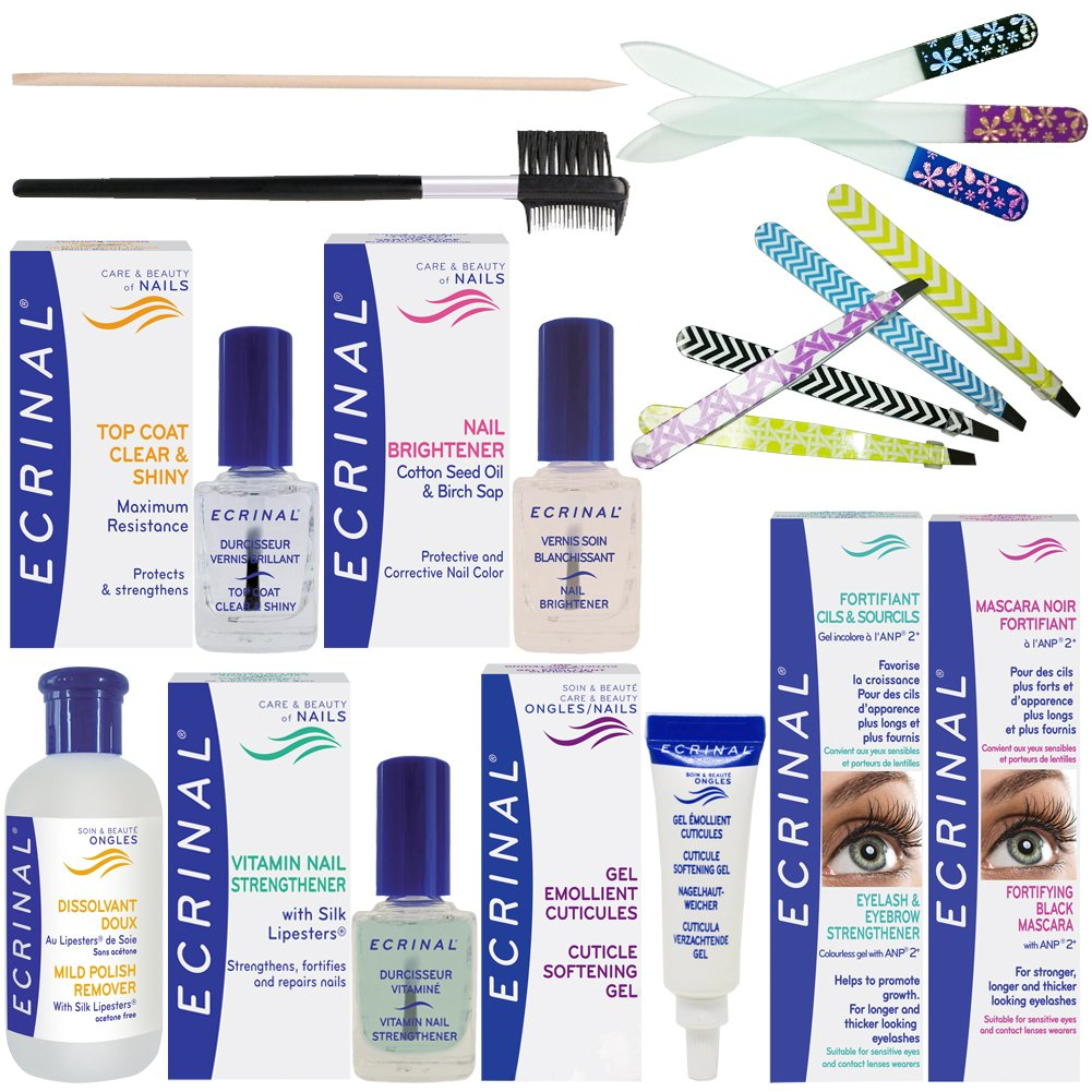 ECRINAL Complete Beauty Routine for Soft & Split Nails, Eyelashes, Eyebrows