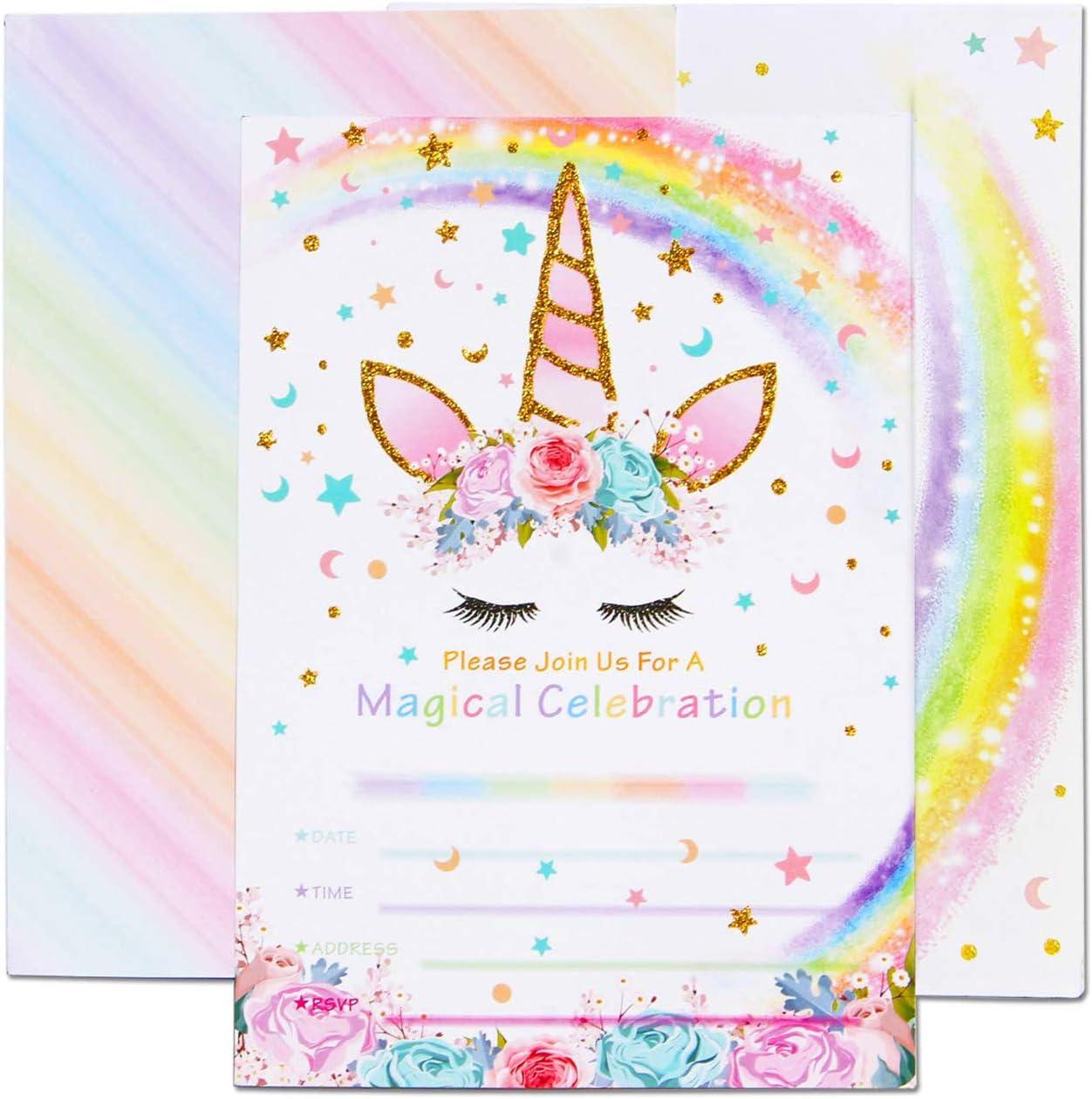 AMZTM Invitaciones con Sobres para la Fiesta de Cumpleaños Baby Shower Decoraciones Accesorios de Unicornio Arcoiris para Niños Chicas Juego de 20