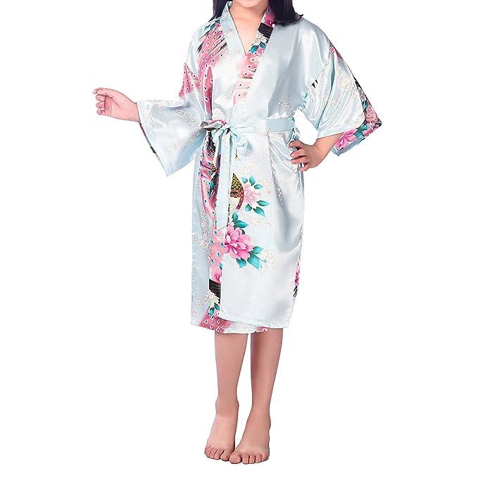 UTOVME Kimono de Baño Albornoz Pijamas de Seda para Niñas, Camisión Vestido Verano de Pavo