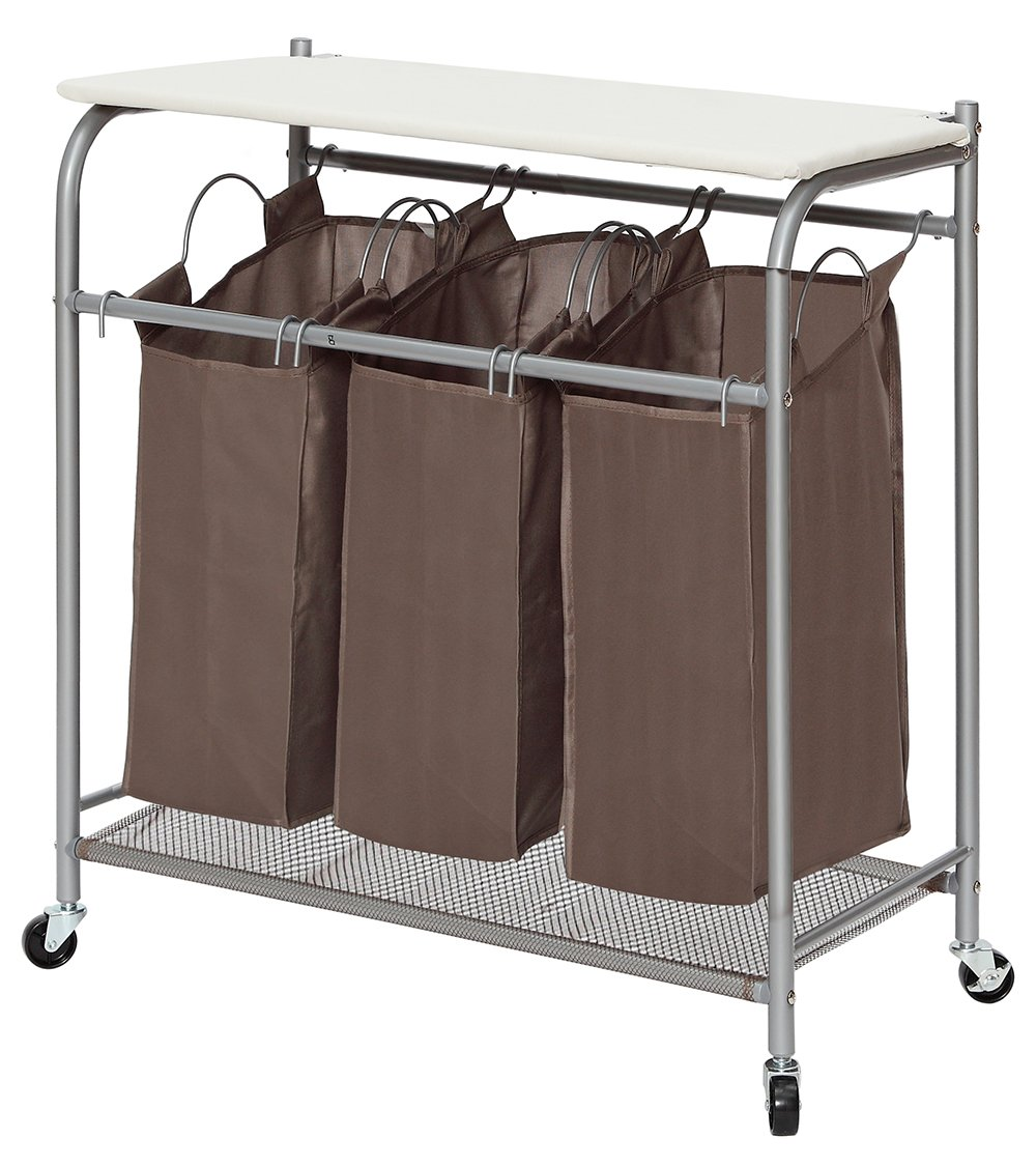 StorageManiac 3 Lift-off Bags Laundry Sorter with Foldable Ironing Board, Multifunctional Laundry Cart