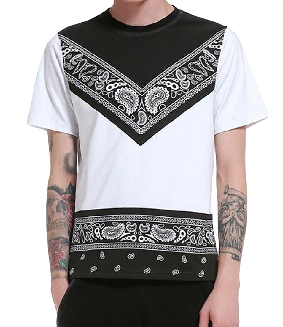 SexyBaby Men Casual Slim Fit Tee Ethnic Style Floral Short Sleeve T-Shirt Top