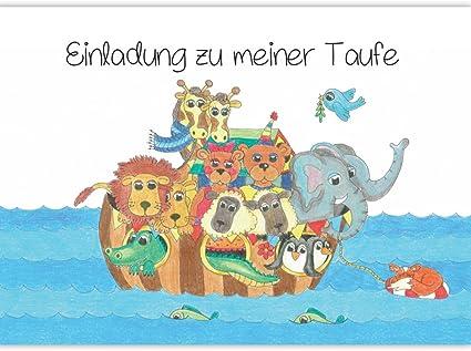 Einladung Zur Taufe Arche Noah Mit Tieren Taufeinladung Einladungskarte Einladungskarten Taufe Baby Mädchen Junge Taufkarte Taufe Einladung Set