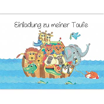 Karte Taufe Einladung.Einladung Zur Taufe Arche Noah Mit Tieren Taufeinladung Einladungskarte Einladungskarten Taufe Baby Mädchen Junge Taufkarte Taufe Einladung Set