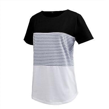098ba5cefb6d Asylvain Short Sleeve Crew Neck Color Block Striple Black Summer Top Shirt  for High School Teen