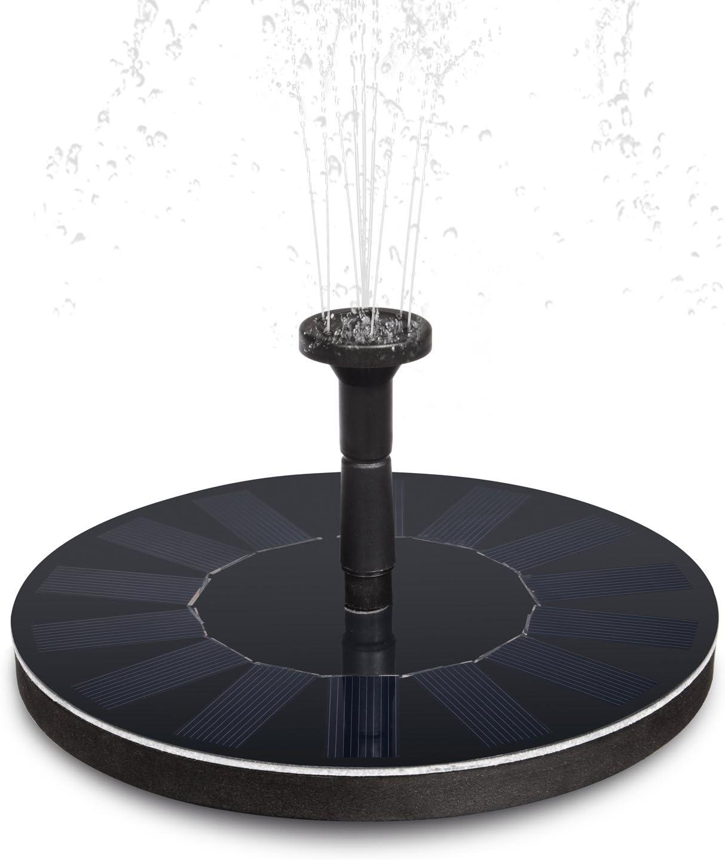 Heepow Bomba de Agua Solar, 42gal/H Bomba Solar Flotante con Panel Solar de Silicio Monocristalino de 1.4W, Alta Eficiencia, 6 Boquillas para 8 Patrones de Agua-Ideal para Jardín Estanque Piscina