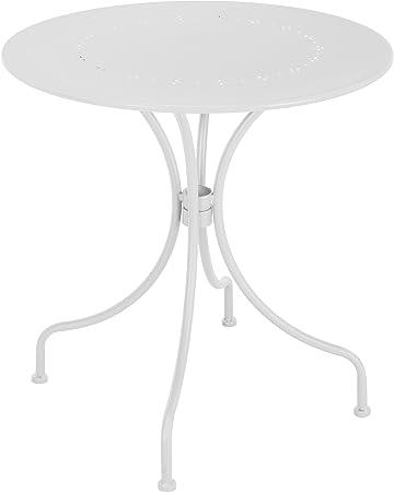 Amazon.de: Gartentisch 70 cm Bistrotisch weiß Metall Balkontisch ...