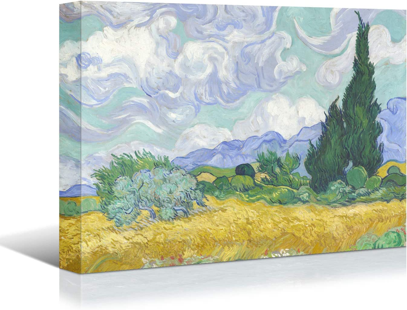 Looife Wheat Field Canvas Wall Art Decor, 16x12 Inch Van Gogh Famous Oil Painting Picture Reproduction Prints Gallery Wrapped Abstract Landscape Room Decoration Ready to Hang