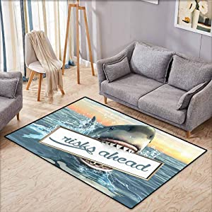 "Hallway Rug,Artsy Great Shark,Sea Decorations Fun Quotes Ocean Animals Scary Accessories for Men Cave IdeasFunny,Extra Large Rug,4'7""x5'3"",White Yellow Orange Gray Blue"