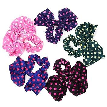 5Pcs Kids Girls Flower Head Rope Hair Ties Candy Band Ponytail Holder Elastic