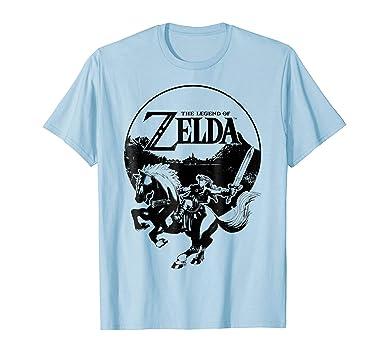 612d279cb Mens Nintendo Zelda Link Epona Hyrule Blackout Badge T-Shirt 2XL Baby Blue