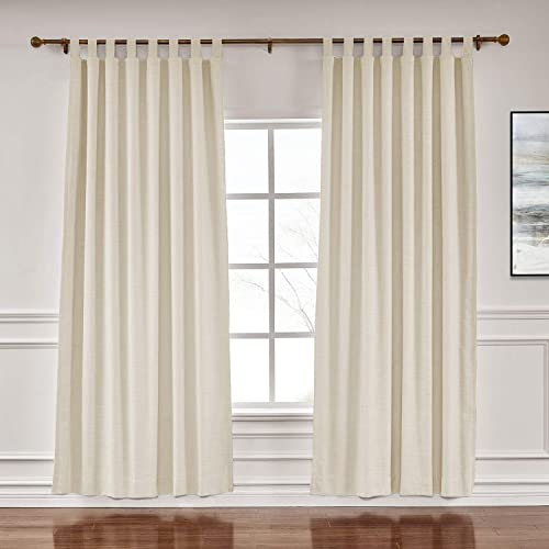 ChadMade Extra Wide Curtains 100 W x 102 L Polyster Linen Drapes with Blackout Lining Tab Top Curtains for Sliding Door Patio Door Living Room Bedroom, 1 Panel Sand Beige