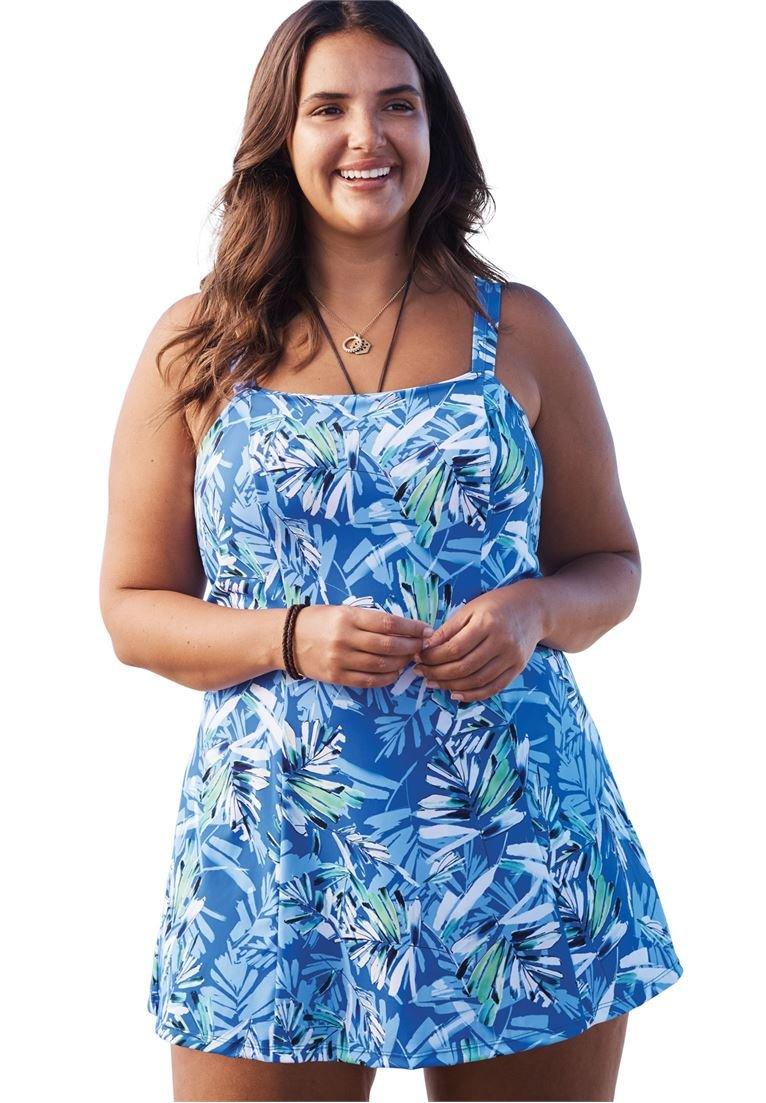 Woman Within Women's Plus Size Princess-Seam Swimdress Blue Tropical,26