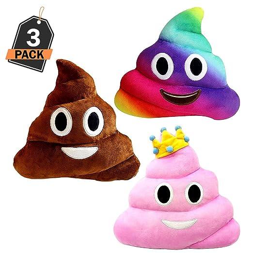 Almohada Grande Estilo Caca - Set de 3 – Emoticono Popo Sonriente Color Arcoíris – Cojín de Emoticon de Peluche JugueteSuave Regalo WhatsappPoopMierda ...