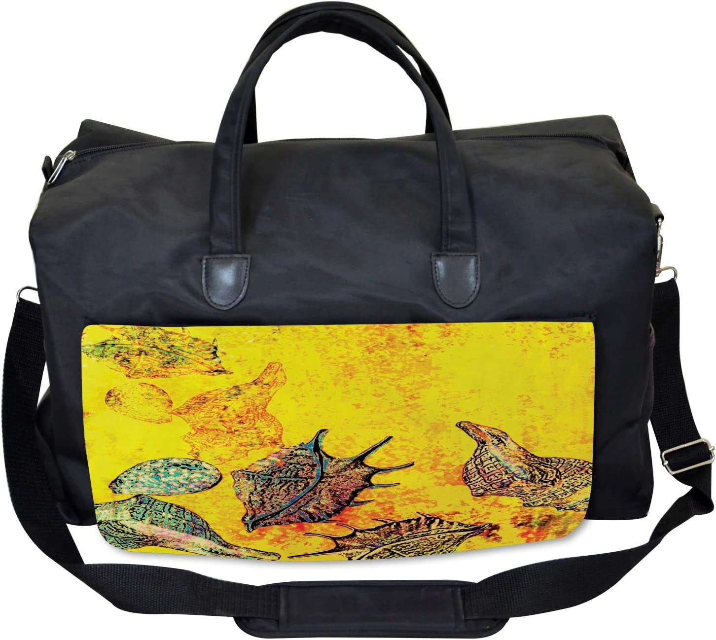Large Weekender Carry-on Seashells Animal Grunge Ambesonne Ocean Gym Bag