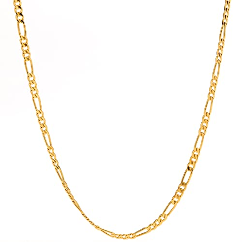 a0138c4ac4a28 Lifetime Jewelry Gold Necklace for Women and Men - Figaro Chain 2.5mm (1/10  inch) - 20X More 24k Plating Than Other Pendant Necklaces - Lifetime ...