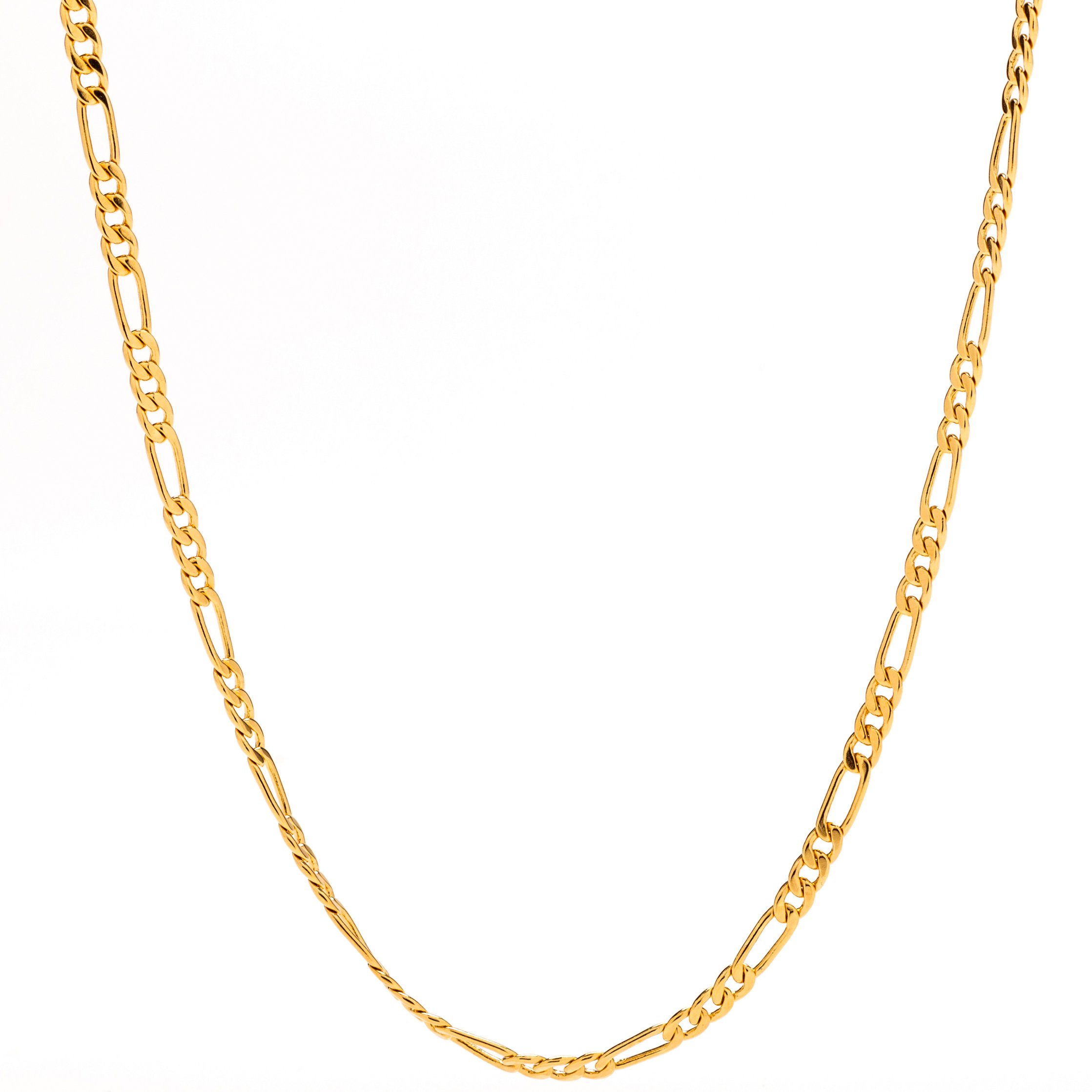Lifetime Jewelry Figaro Chain 2.5MM, 24K Gold with Inlaid Bronze, Pendant Necklace, Guaranteed for Life, 16 to 30 Inches (30)