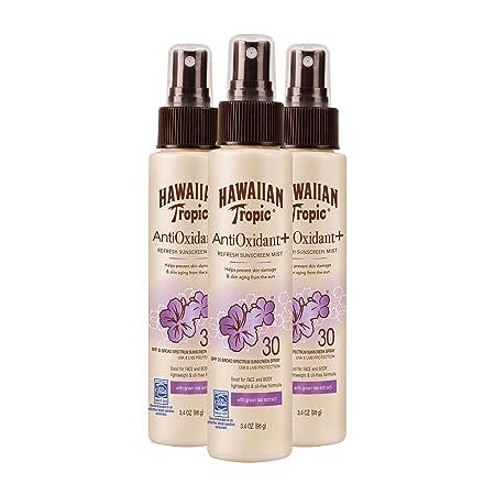 Hawaiian Tropic Antioxidant Sunscreen Spray With Green Tea Extract, SPF 30, 3.4 Ounce – Pack of 3