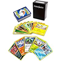100 Pokemon Cards with 5 Holo Rares Bundled with Poshinzo Card Box