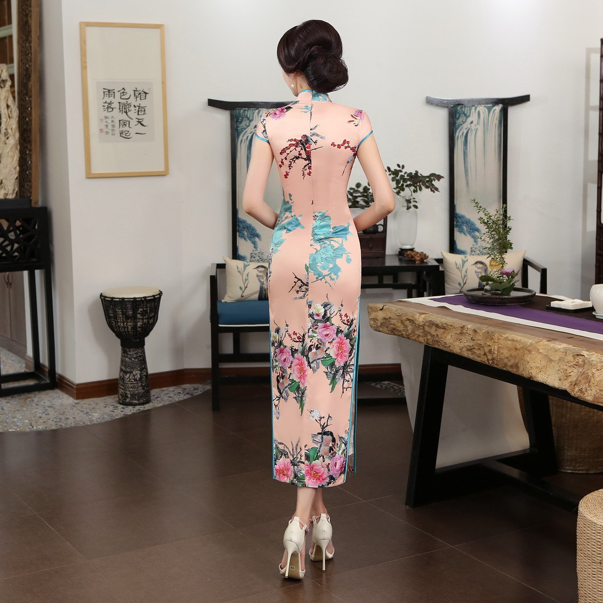 ACVIP Women Stand Collar Cap Sleeve Retro Chinese Floral Maxi Qipao Cheongsam (China 3XL/Bust:40.9'') by ACVIP (Image #2)