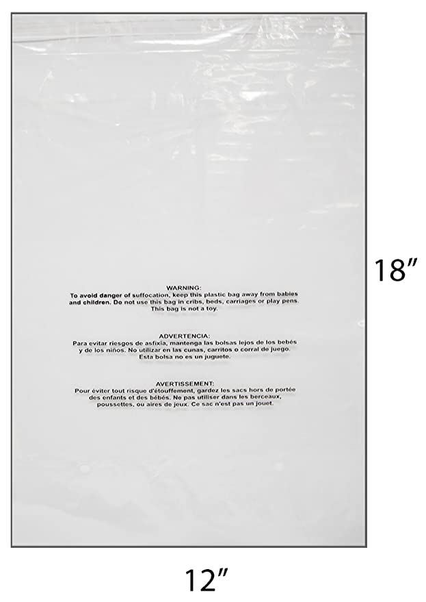 """Amazon.com: Novel Box 100-Count Self-Seal Suffocation Warning Clear Poly Bags 1.5 mil 12""""X18"""" + NB Cleaning Cloth: Office Products"""