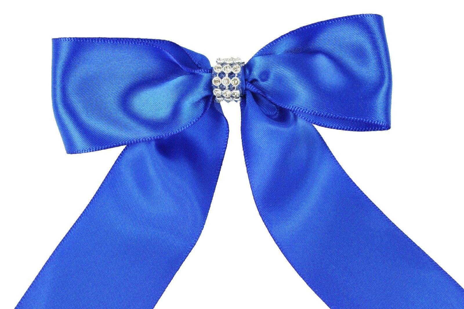 Bright Sun Royal Blue (Set of 10) Pre-Made 1-1/2'' Satin Bows Rhinestone Center Design with Wire Tie #DPNH