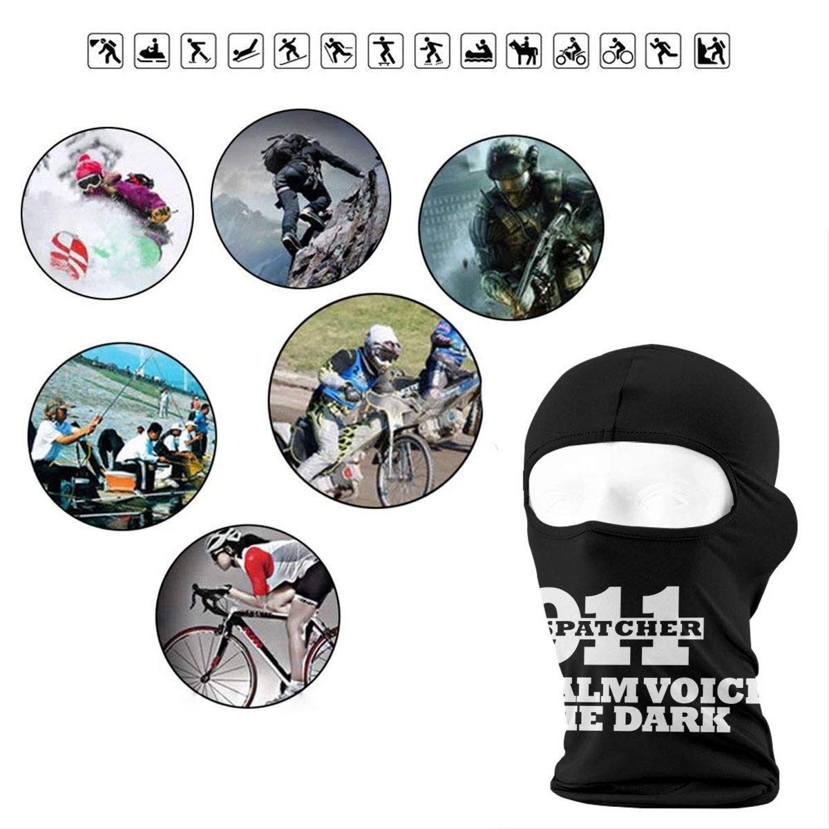 The Calm Voice in The Dark 911 Dispatcher Full Outdoor Cycling Ski Motorcycle Balaclava Mask Sunscreen Hat Windproof Cap