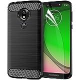 Motorola Moto G7 Play Case 2019 with Screen Protector,Motorola Moto G7 Play TPU Phone Case Skin 5.7'',Carbon Fiber Brushed Soft Slim Anti-Scratch Anti-Slip Rubber Bumper Protective Case Cover-Black