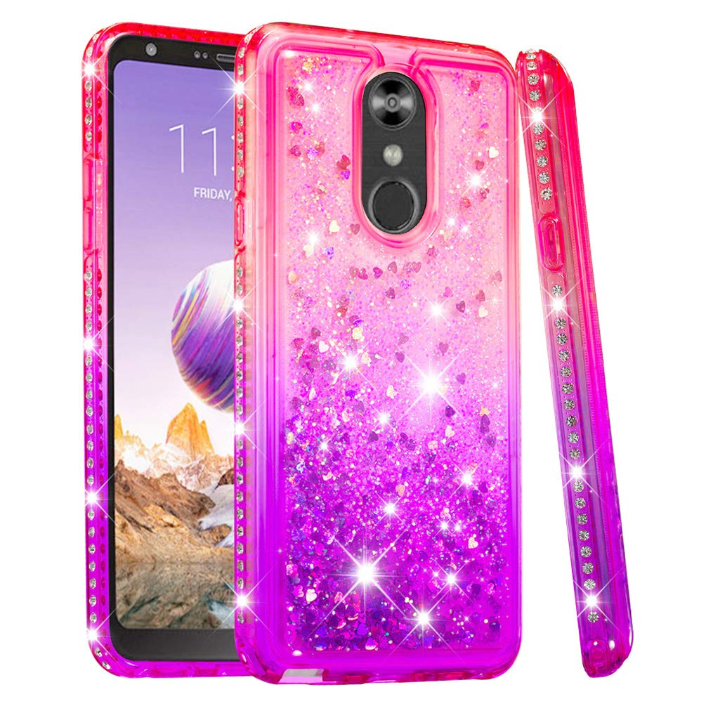 LG Stylo 4 Case, Clear Liquid Glitter Case Color-Gradient Bling Shiny Glitter Sparkle Flowing Moving Hearts Diamonds Frame Ultral Slim Shock Absorbtion TPU Bumper Shell Cover for LG Q Stylus - Pink